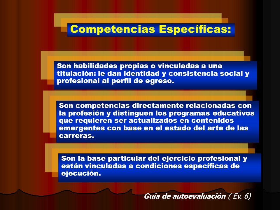 Competencias Específicas: Son habilidades propias o vinculadas a una titulación: le dan identidad y consistencia social y profesional al perfil de egr