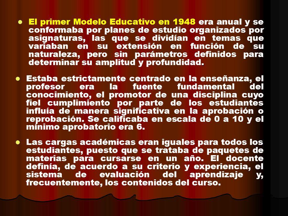 . El primer Modelo Educativo en 1948 era anual y se conformaba por planes de estudio organizados por asignaturas, las que se dividían en temas que var