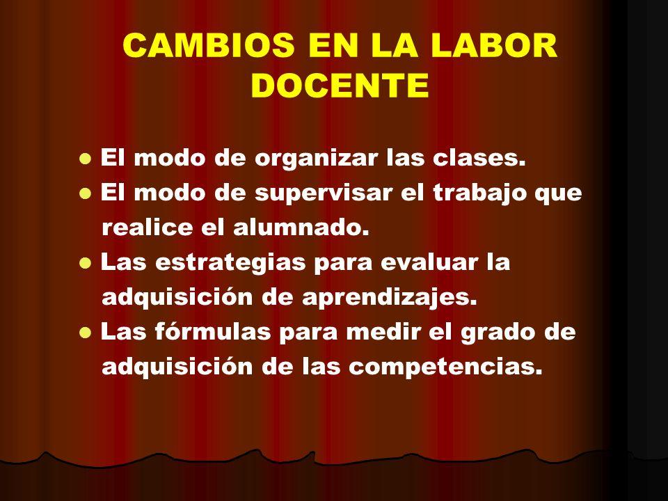 CAMBIOS EN LA LABOR DOCENTE El modo de organizar las clases. El modo de supervisar el trabajo que realice el alumnado. Las estrategias para evaluar la