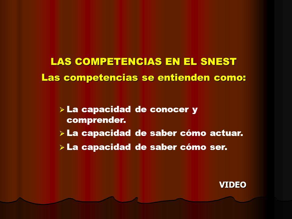 LAS COMPETENCIAS EN EL SNEST Las competencias se entienden como: La capacidad de conocer y comprender. La capacidad de saber cómo actuar. La capacidad