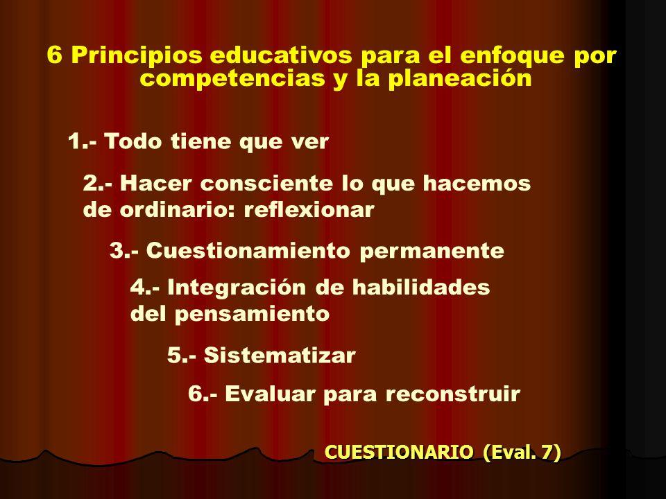 6 Principios educativos para el enfoque por competencias y la planeación 2.- Hacer consciente lo que hacemos de ordinario: reflexionar 3.- Cuestionami