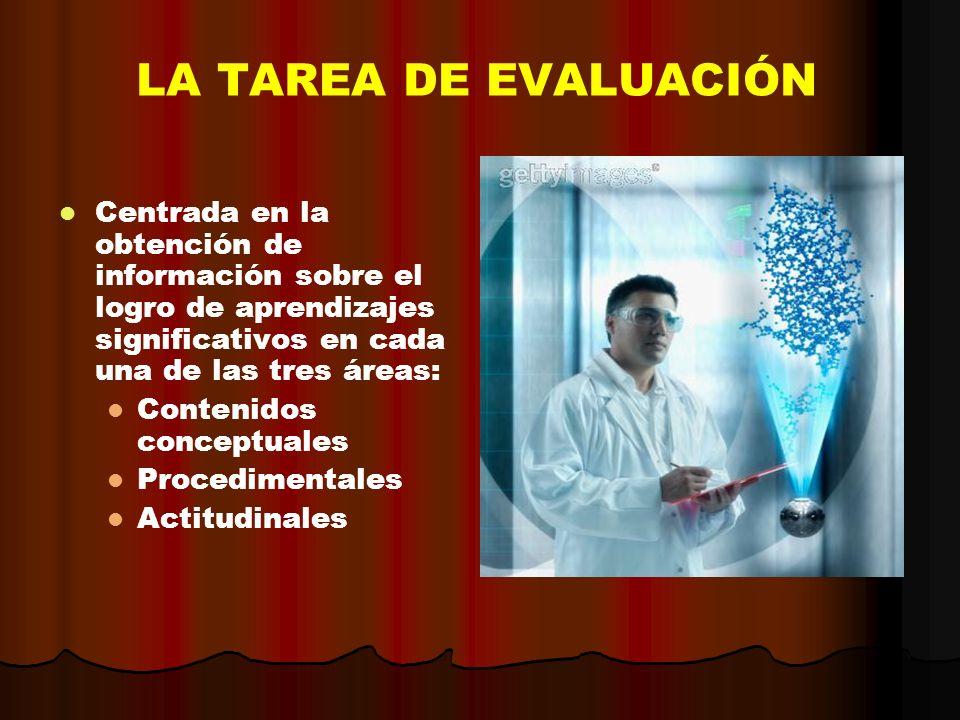 LA TAREA DE EVALUACIÓN Centrada en la obtención de información sobre el logro de aprendizajes significativos en cada una de las tres áreas: Contenidos