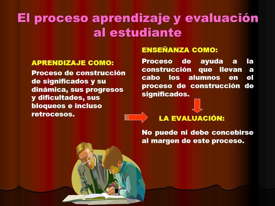 El proceso aprendizaje y evaluación al estudiante APRENDIZAJE COMO: Proceso de construcción de significados y su dinámica, sus progresos y dificultade