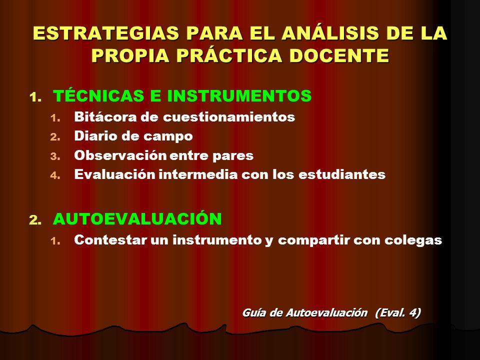ESTRATEGIAS PARA EL ANÁLISIS DE LA PROPIA PRÁCTICA DOCENTE 1. 1. TÉCNICAS E INSTRUMENTOS 1. 1. Bitácora de cuestionamientos 2. 2. Diario de campo 3. 3