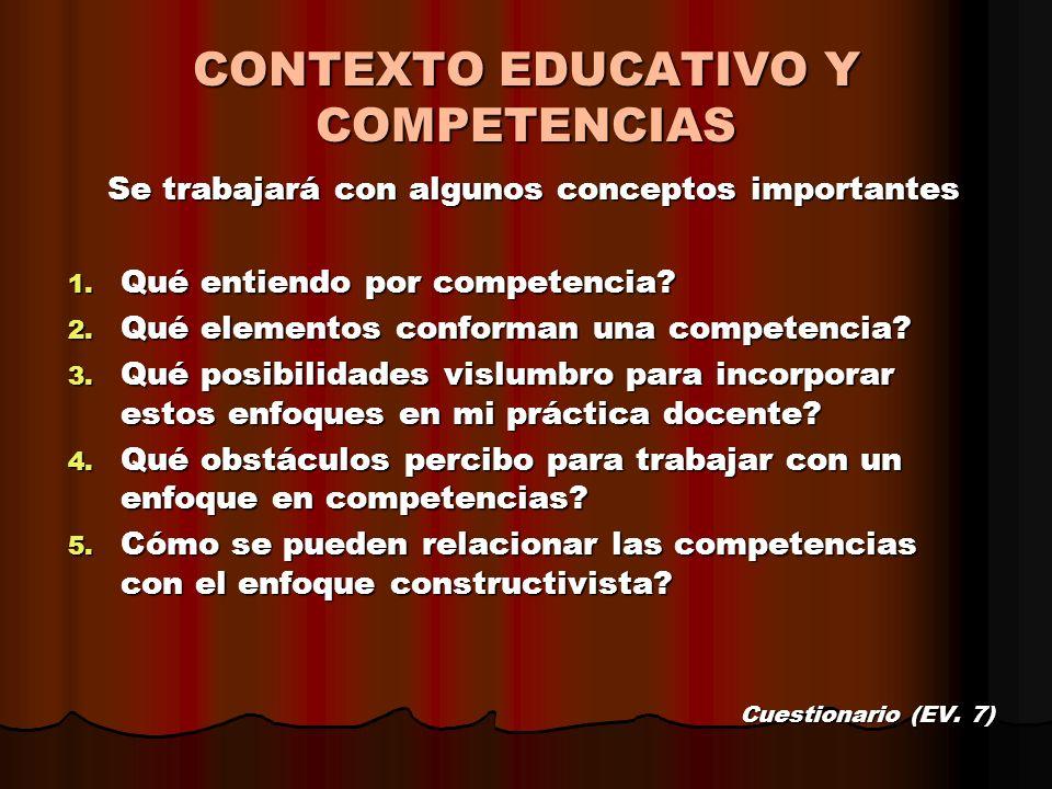 Se trabajará con algunos conceptos importantes 1. Qué entiendo por competencia? 2. Qué elementos conforman una competencia? 3. Qué posibilidades vislu