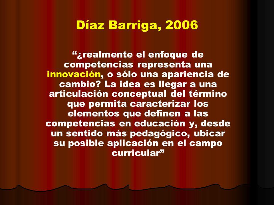 Díaz Barriga, 2006 ¿realmente el enfoque de competencias representa una innovación, o sólo una apariencia de cambio? La idea es llegar a una articulac