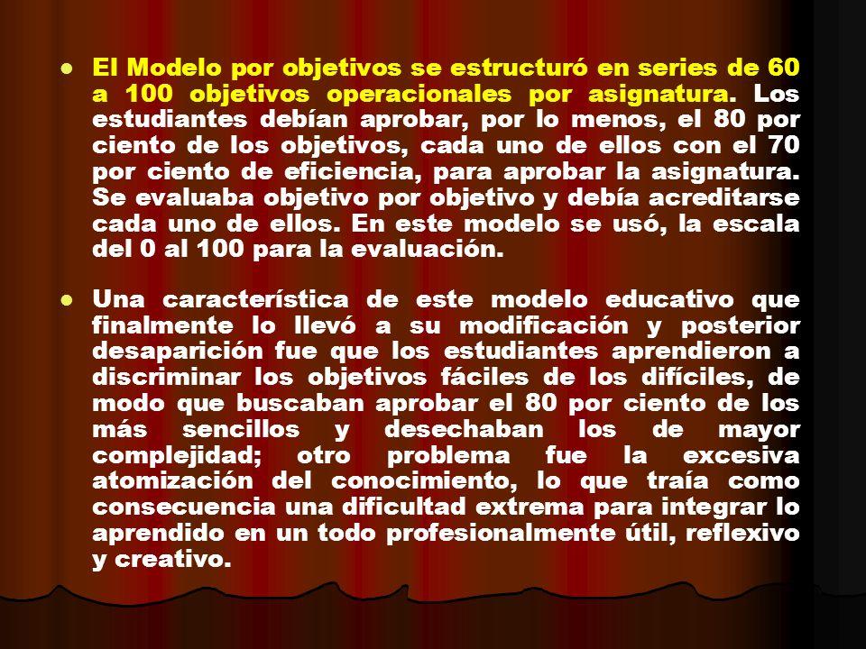 El Modelo por objetivos se estructuró en series de 60 a 100 objetivos operacionales por asignatura. Los estudiantes debían aprobar, por lo menos, el 8