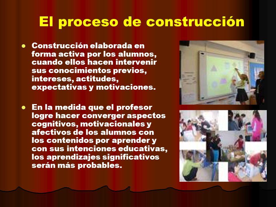 El proceso de construcción Construcción elaborada en forma activa por los alumnos, cuando ellos hacen intervenir sus conocimientos previos, intereses,
