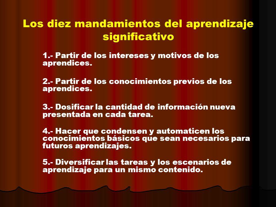Los diez mandamientos del aprendizaje significativo 1.- Partir de los intereses y motivos de los aprendices. 2.- Partir de los conocimientos previos d