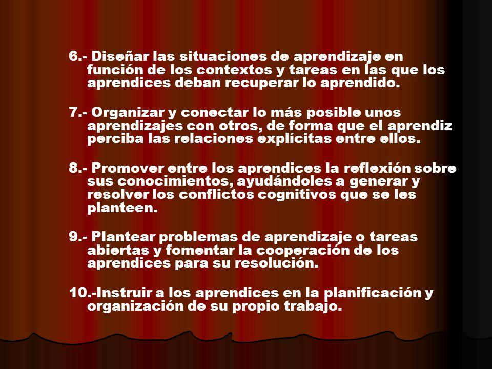 6.- Diseñar las situaciones de aprendizaje en función de los contextos y tareas en las que los aprendices deban recuperar lo aprendido. 7.- Organizar