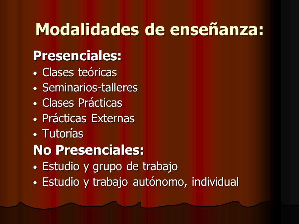 Modalidades de enseñanza: Presenciales: Clases teóricas Clases teóricas Seminarios-talleres Seminarios-talleres Clases Prácticas Clases Prácticas Prác