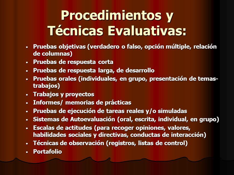 Procedimientos y Técnicas Evaluativas: Pruebas objetivas (verdadero o falso, opción múltiple, relación de columnas) Pruebas objetivas (verdadero o fal