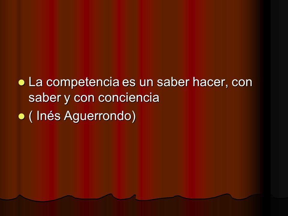 La competencia es un saber hacer, con saber y con conciencia La competencia es un saber hacer, con saber y con conciencia ( Inés Aguerrondo) ( Inés Ag
