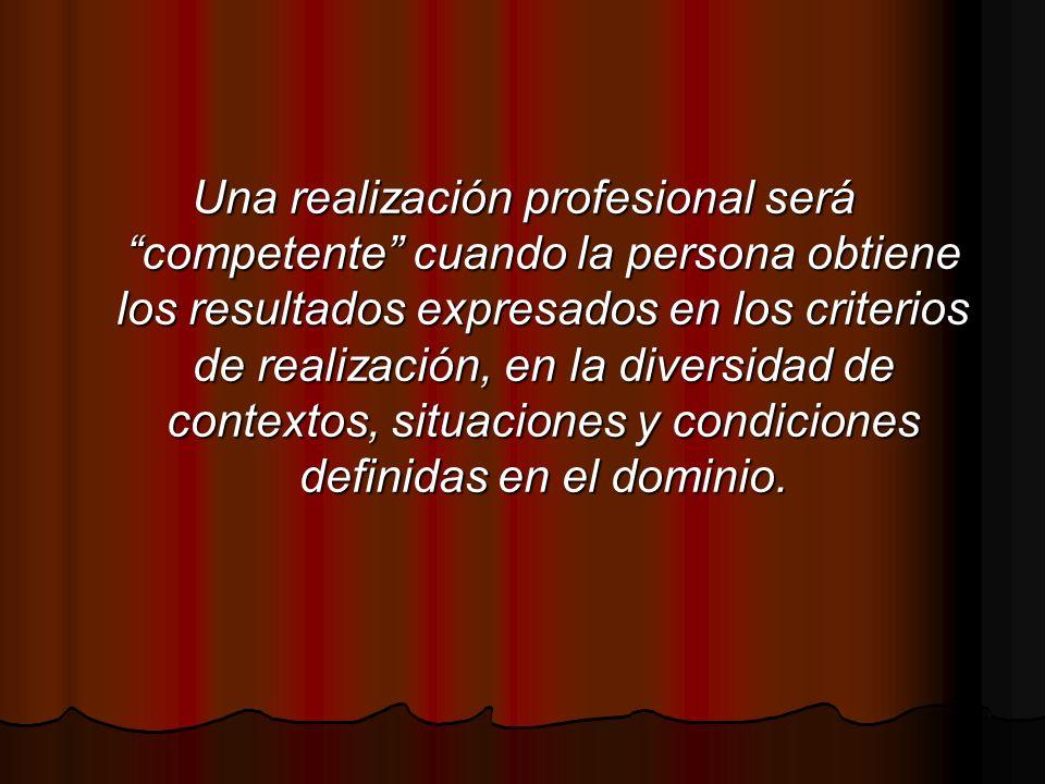 Una realización profesional será competente cuando la persona obtiene los resultados expresados en los criterios de realización, en la diversidad de c