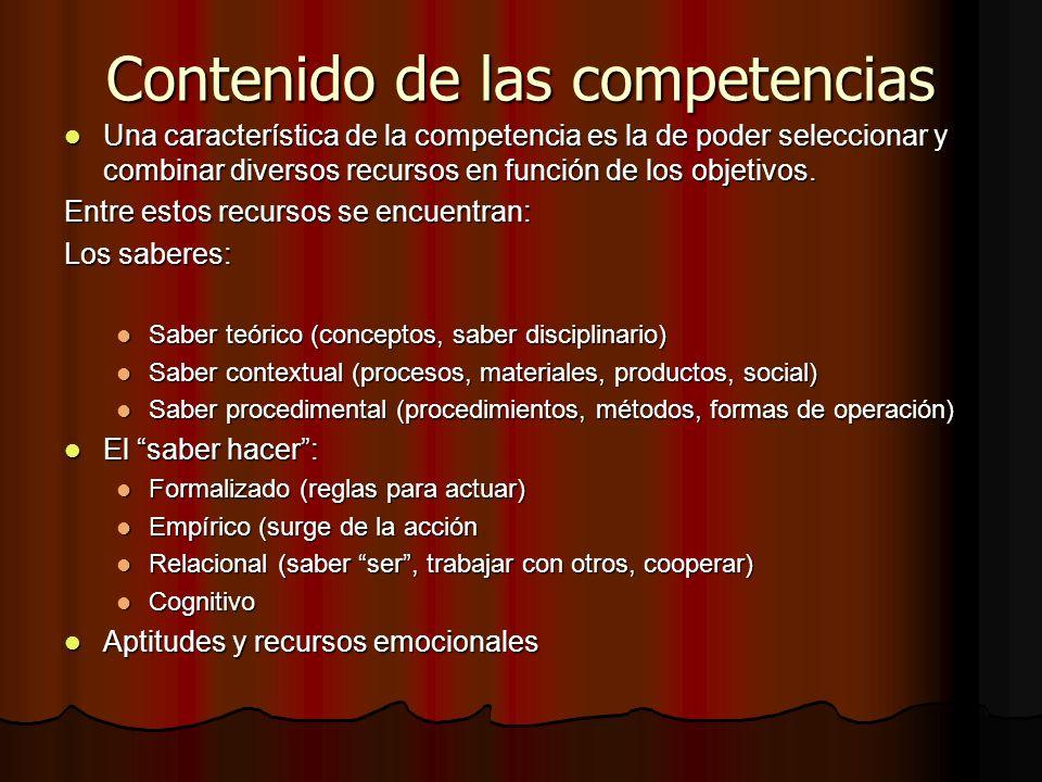 Contenido de las competencias Una característica de la competencia es la de poder seleccionar y combinar diversos recursos en función de los objetivos
