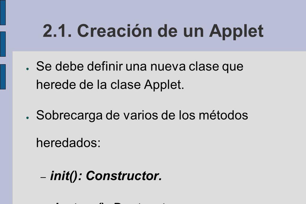 2.1.Creación de un Applet Se debe definir una nueva clase que herede de la clase Applet.