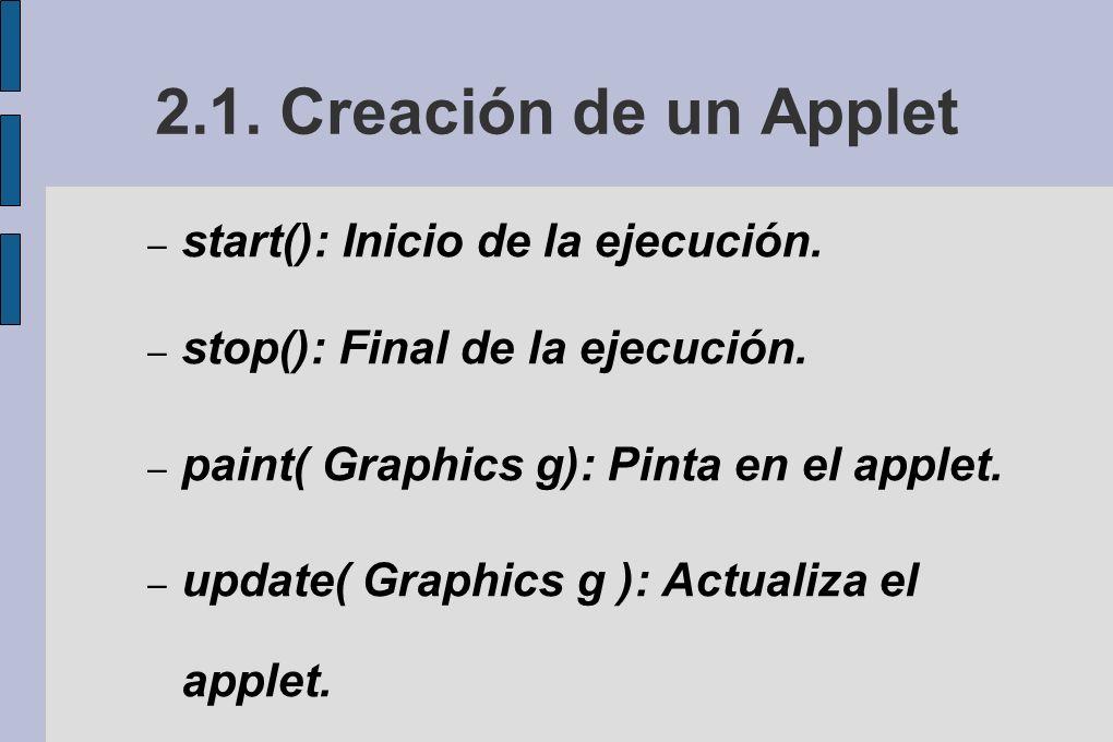 2.1.Creación de un Applet – start(): Inicio de la ejecución.
