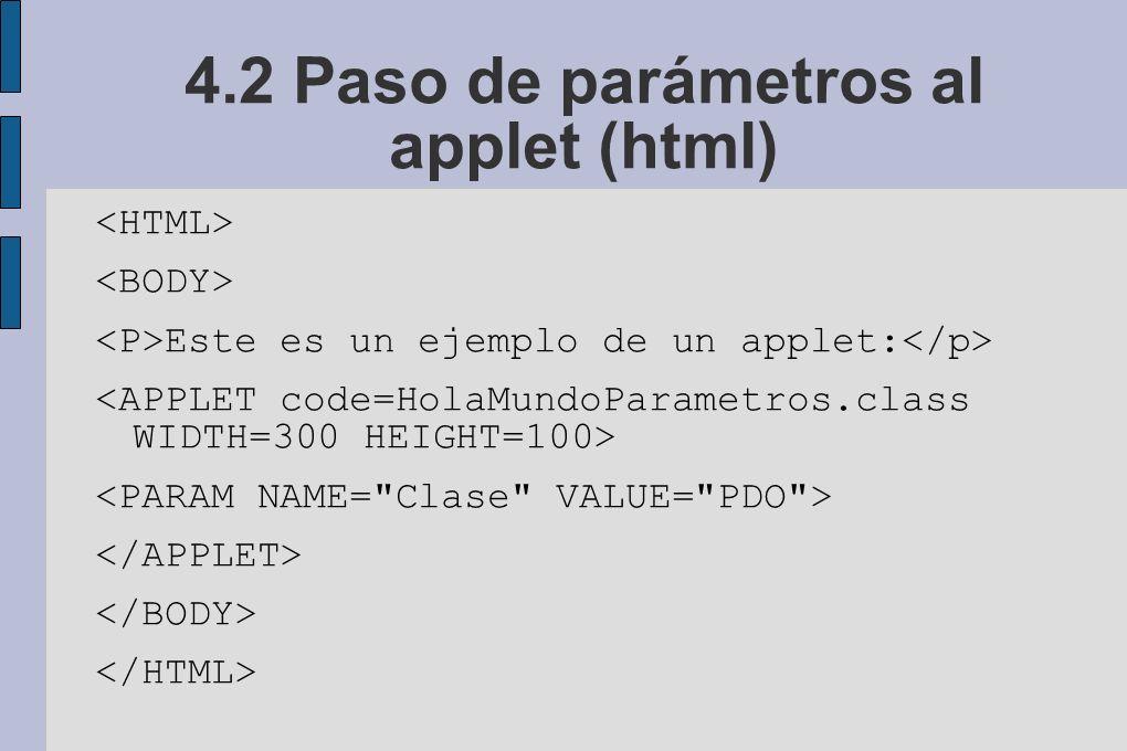 4.2 Paso de parámetros al applet (html) Este es un ejemplo de un applet: