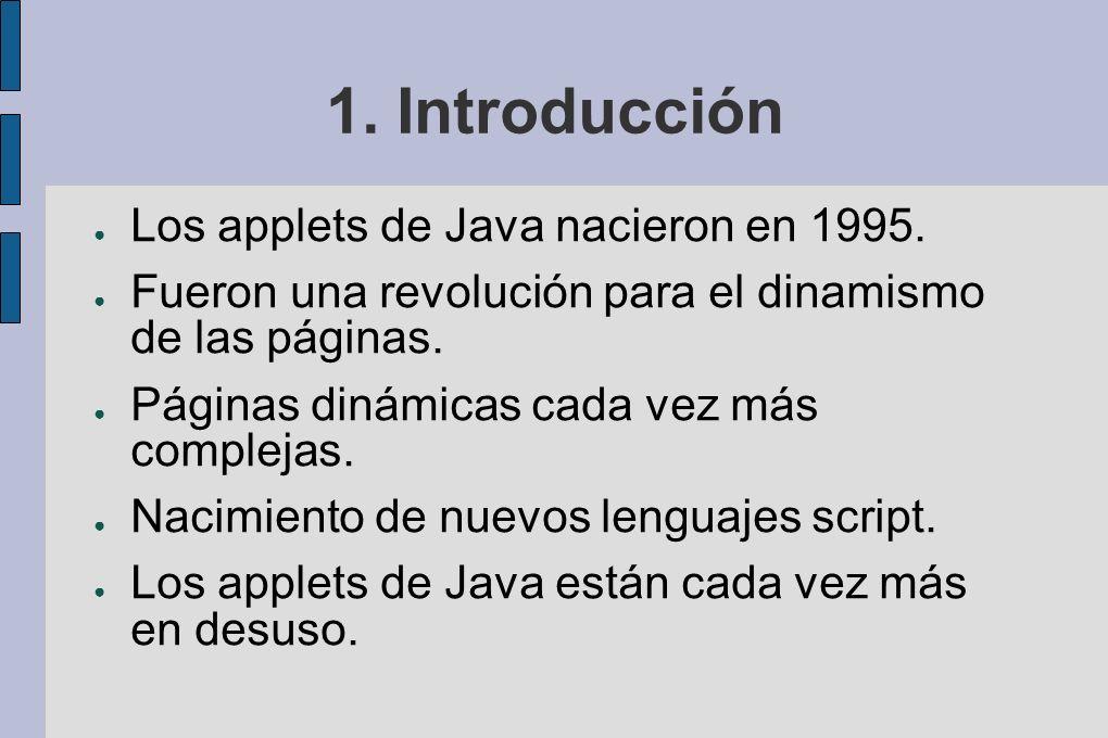 1.Introducción Los applets de Java nacieron en 1995.