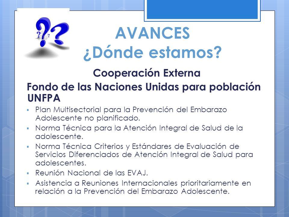 AVANCES ¿Dónde estamos? Cooperación Externa Fondo de las Naciones Unidas para población UNFPA Plan Multisectorial para la Prevención del Embarazo Adol