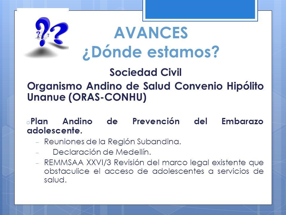 AVANCES ¿Dónde estamos? Sociedad Civil Organismo Andino de Salud Convenio Hipólito Unanue (ORAS-CONHU) o Plan Andino de Prevención del Embarazo adoles