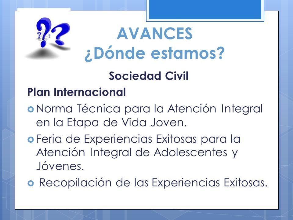 AVANCES ¿Dónde estamos? Sociedad Civil Plan Internacional Norma Técnica para la Atención Integral en la Etapa de Vida Joven. Feria de Experiencias Exi