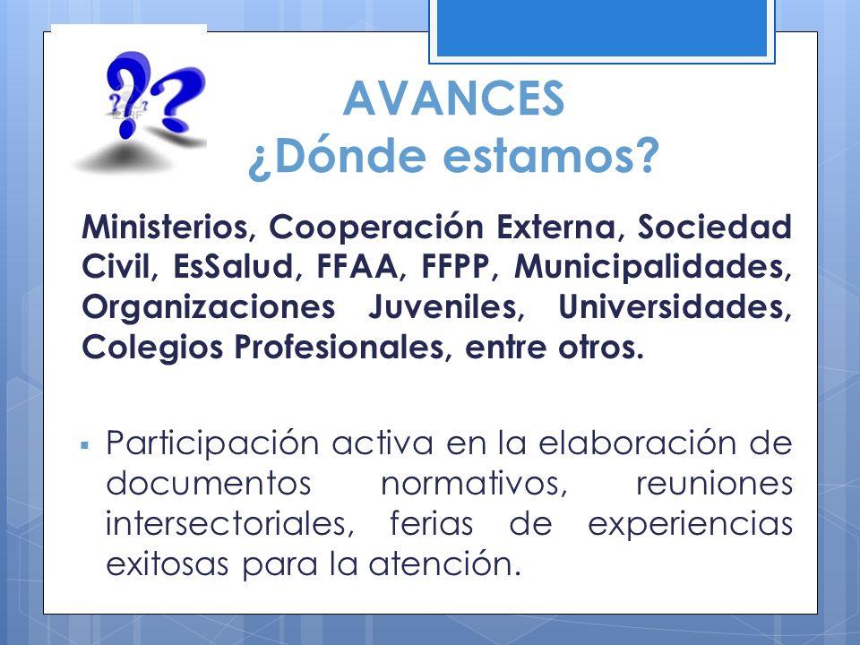 AVANCES ¿Dónde estamos? Ministerios, Cooperación Externa, Sociedad Civil, EsSalud, FFAA, FFPP, Municipalidades, Organizaciones Juveniles, Universidade