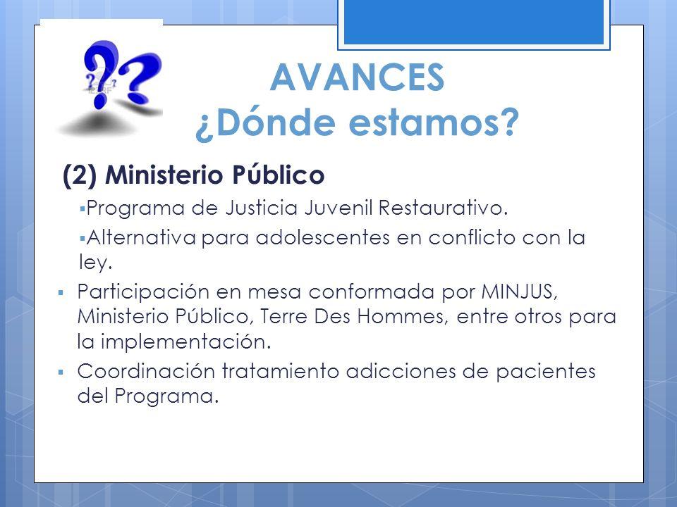 AVANCES ¿Dónde estamos? (2) Ministerio Público Programa de Justicia Juvenil Restaurativo. Alternativa para adolescentes en conflicto con la ley. Parti