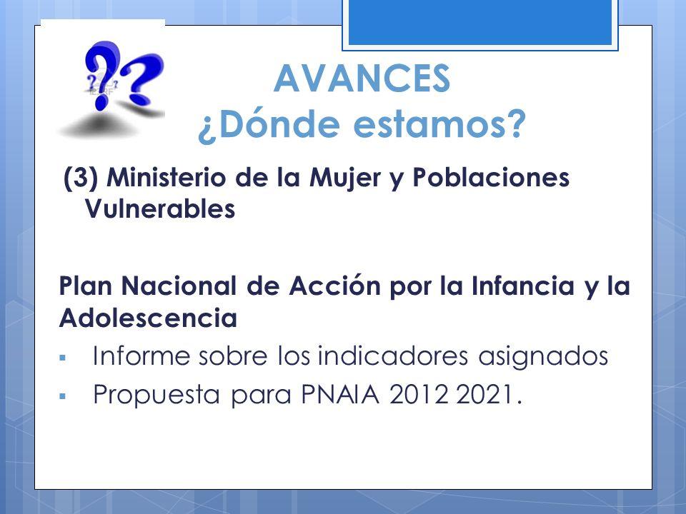 AVANCES ¿Dónde estamos? (3) Ministerio de la Mujer y Poblaciones Vulnerables Plan Nacional de Acción por la Infancia y la Adolescencia Informe sobre l