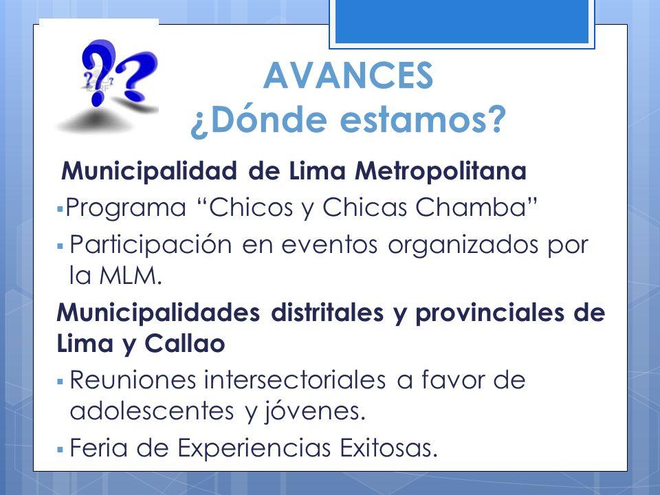 AVANCES ¿Dónde estamos? Municipalidad de Lima Metropolitana Programa Chicos y Chicas Chamba Participación en eventos organizados por la MLM. Municipal
