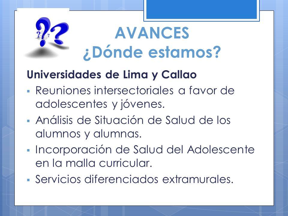 AVANCES ¿Dónde estamos? Universidades de Lima y Callao Reuniones intersectoriales a favor de adolescentes y jóvenes. Análisis de Situación de Salud de