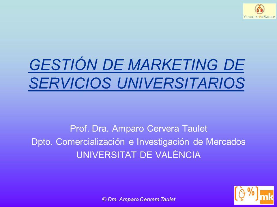 © Dra.Amparo Cervera Taulet GESTIÓN DE MARKETING DE SERVICIOS UNIVERSITARIOS Prof.