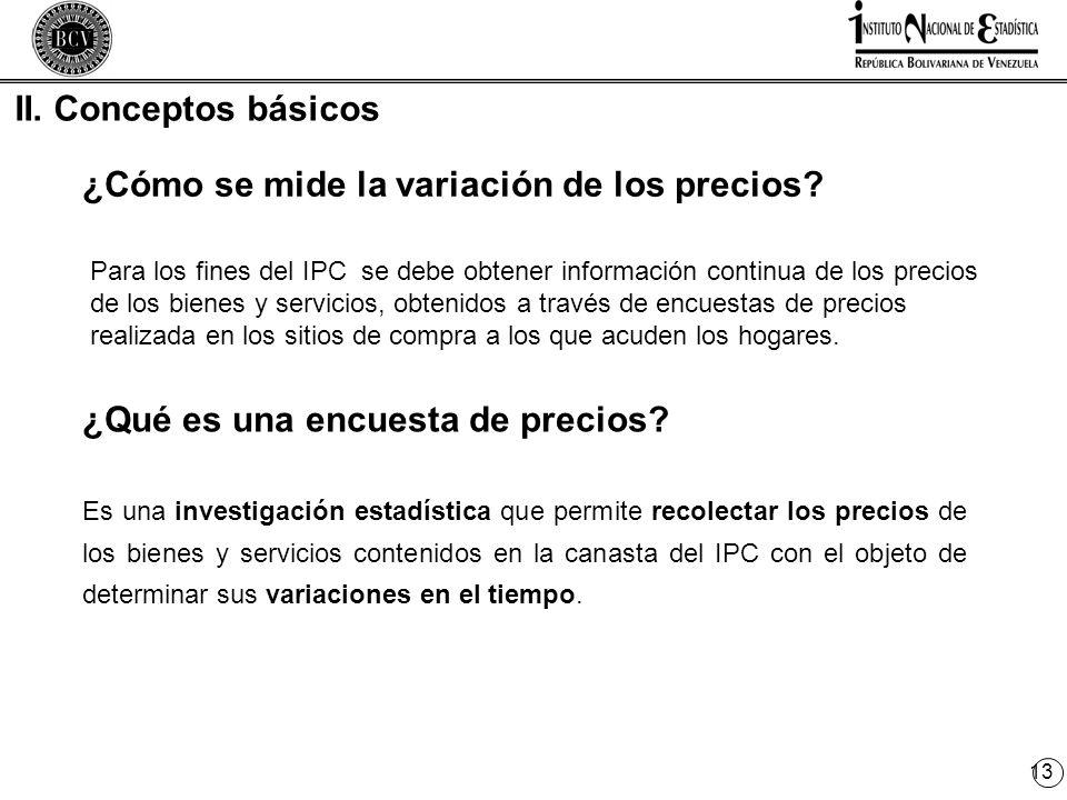 13 II. Conceptos básicos ¿Qué es una encuesta de precios.