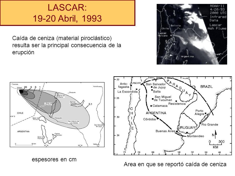 LASCAR: 19-20 Abril, 1993 Caída de ceniza (material piroclástico) resulta ser la principal consecuencia de la erupción espesores en cm Area en que se