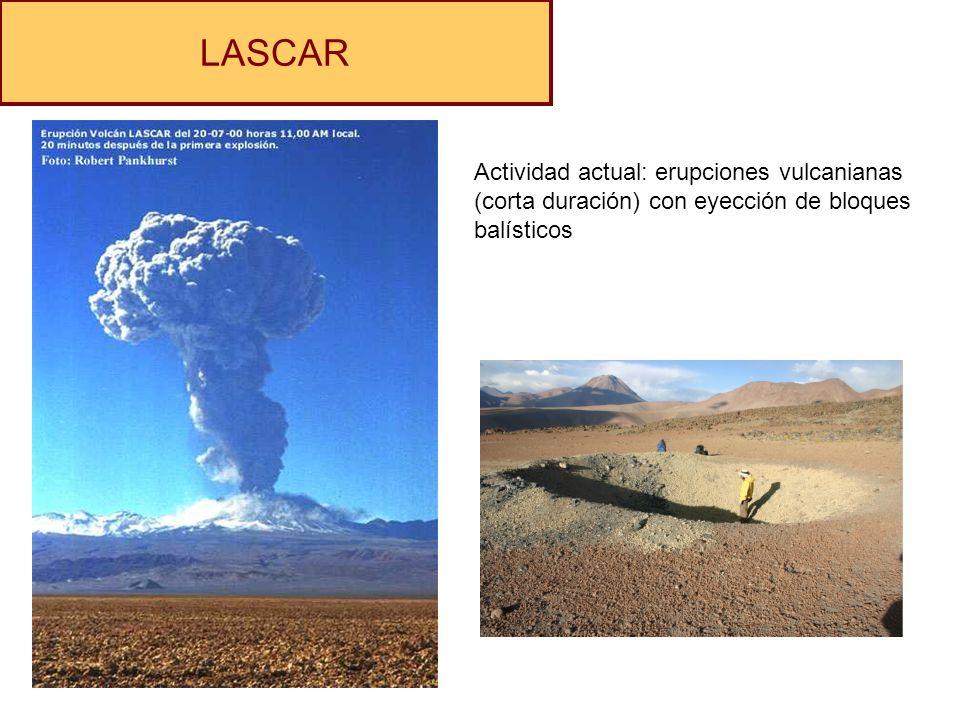 LASCAR Actividad actual: erupciones vulcanianas (corta duración) con eyección de bloques balísticos