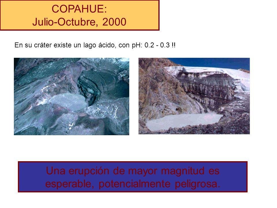 COPAHUE: Julio-Octubre, 2000 En su cráter existe un lago ácido, con pH: 0.2 - 0.3 !! Una erupción de mayor magnitud es esperable, potencialmente pelig