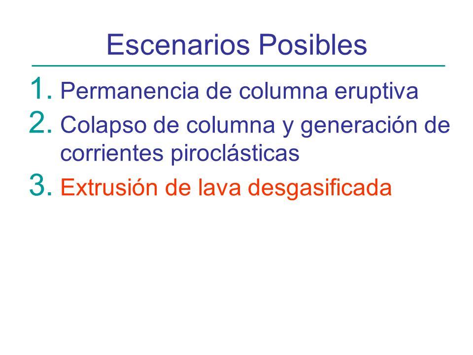 Escenarios Posibles 1. Permanencia de columna eruptiva 2. Colapso de columna y generación de corrientes piroclásticas 3. Extrusión de lava desgasifica