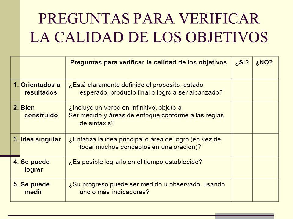 PREGUNTAS PARA VERIFICAR LA CALIDAD DE LOS OBJETIVOS Preguntas para verificar la calidad de los objetivos¿SI?¿NO? 1. Orientados a resultados ¿Está cla
