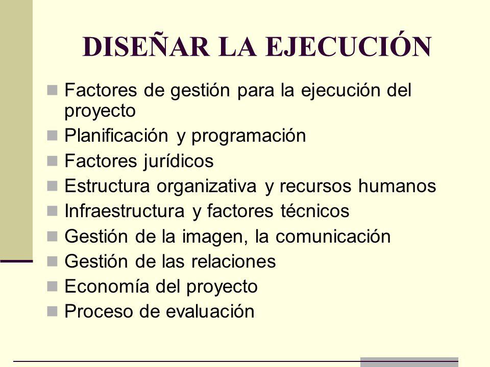 DISEÑAR LA EJECUCIÓN Factores de gestión para la ejecución del proyecto Planificación y programación Factores jurídicos Estructura organizativa y recu