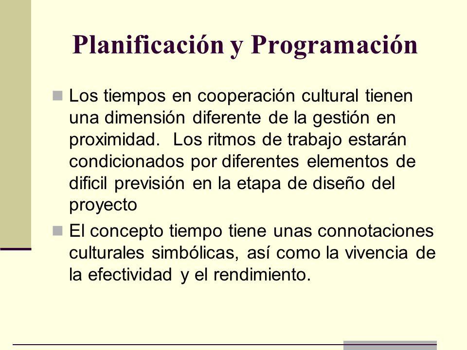 Planificación y Programación Los tiempos en cooperación cultural tienen una dimensión diferente de la gestión en proximidad. Los ritmos de trabajo est