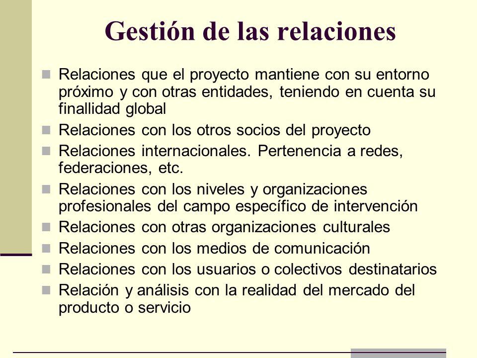Gestión de las relaciones Relaciones que el proyecto mantiene con su entorno próximo y con otras entidades, teniendo en cuenta su finallidad global Re
