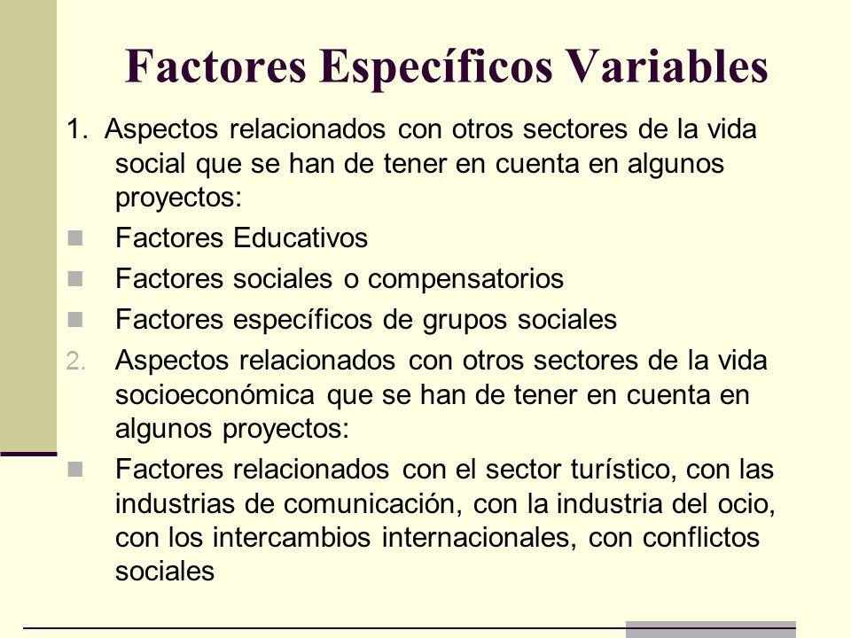 Factores Específicos Variables 1. Aspectos relacionados con otros sectores de la vida social que se han de tener en cuenta en algunos proyectos: Facto