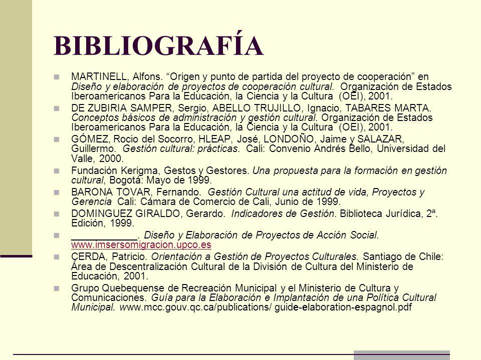 BIBLIOGRAFÍA MARTINELL, Alfons. Origen y punto de partida del proyecto de cooperación en Diseño y elaboración de proyectos de cooperación cultural. Or