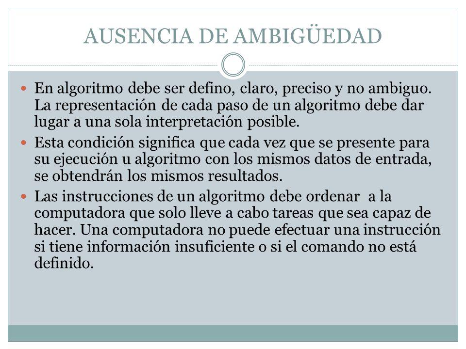 GENERALIDAD Un algoritmo se puede realizar para varios problemas que se relacionan entre sí.