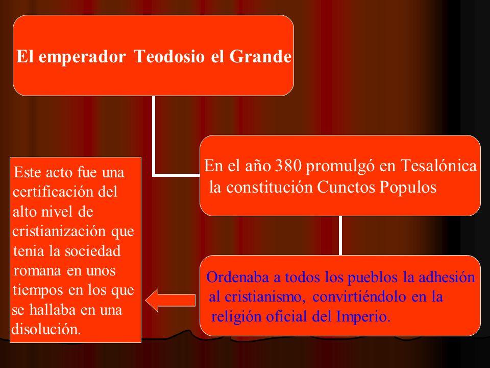El emperador Teodosio el Grande En el año 380 promulgó en Tesalónica la constitución Cunctos Populos Ordenaba a todos los pueblos la adhesión al crist