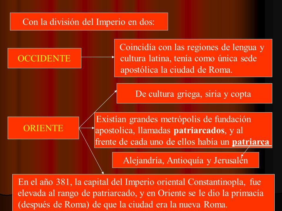 Con la división del Imperio en dos: OCCIDENTE Coincidía con las regiones de lengua y cultura latina, tenía como única sede apostólica la ciudad de Rom
