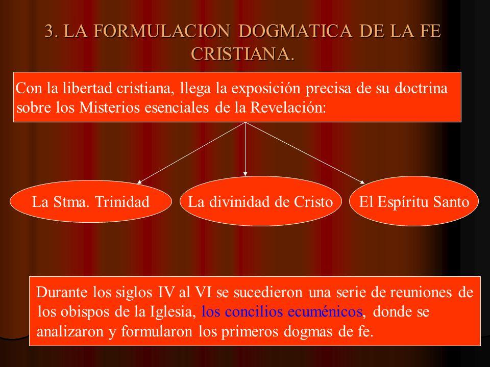 3. LA FORMULACION DOGMATICA DE LA FE CRISTIANA. Con la libertad cristiana, llega la exposición precisa de su doctrina sobre los Misterios esenciales d