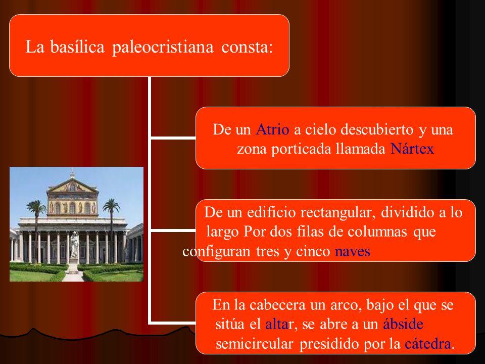 La basílica paleocristiana consta: De un Atrio a cielo descubierto y una zona porticada llamada Nártex De un edificio rectangular, dividido a lo largo
