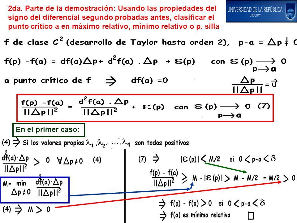 2da. Parte de la demostración: Usando las propiedades del signo del diferencial segundo probadas antes, clasificar el punto crítico a en máximo relati