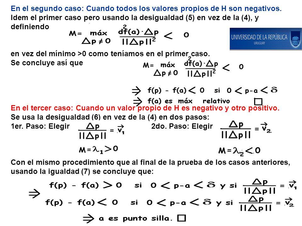 En el segundo caso: Cuando todos los valores propios de H son negativos. Idem el primer caso pero usando la desigualdad (5) en vez de la (4), y defini